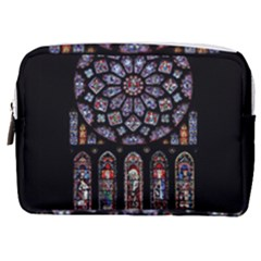 Chartres Cathedral Notre Dame De Paris Amiens Cath Stained Glass Make Up Pouch (medium) by Wegoenart