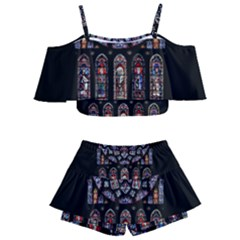 Chartres Cathedral Notre Dame De Paris Amiens Cath Stained Glass Kids  Off Shoulder Skirt Bikini by Wegoenart