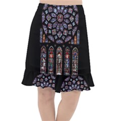 Chartres Cathedral Notre Dame De Paris Amiens Cath Stained Glass Fishtail Chiffon Skirt