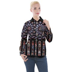 Chartres Cathedral Notre Dame De Paris Amiens Cath Stained Glass Women s Long Sleeve Pocket Shirt