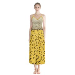 Beer Bubbles Button Up Chiffon Maxi Dress