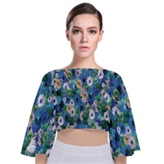 Fantasy Garden Blue Tie Back Butterfly Sleeve Chiffon Top by retrotoomoderndesigns