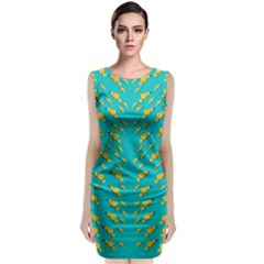 Sakura In Yellow And Colors From The Sea Classic Sleeveless Midi Dress by pepitasart