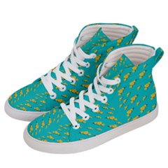 Sakura In Yellow And Colors From The Sea Men s Hi-top Skate Sneakers by pepitasart