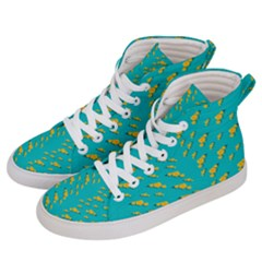 Sakura In Yellow And Colors From The Sea Women s Hi-top Skate Sneakers by pepitasart