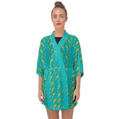 Sakura In Yellow And Colors From The Sea Half Sleeve Chiffon Kimono by pepitasart