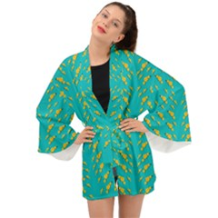 Sakura In Yellow And Colors From The Sea Long Sleeve Kimono by pepitasart