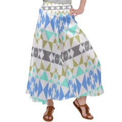 Multicolored Geometric Pattern Satin Palazzo Pants by dflcprintsclothing