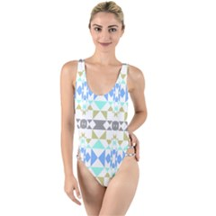 Multicolored Geometric Pattern High Leg Strappy Swimsuit by dflcprintsclothing