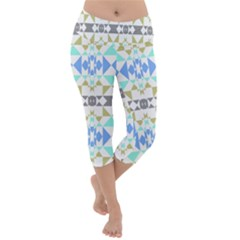 Multicolored Geometric Pattern Lightweight Velour Capri Yoga Leggings by dflcprintsclothing