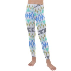 Multicolored Geometric Pattern Kids  Lightweight Velour Leggings
