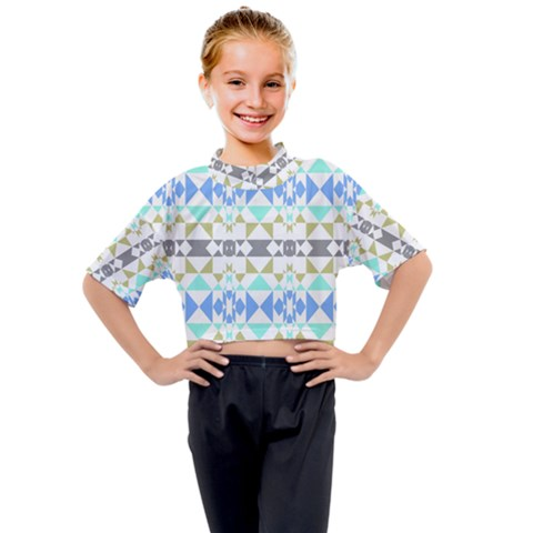 Multicolored Geometric Pattern Kids Mock Neck Tee by dflcprintsclothing