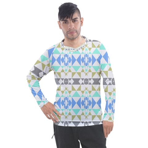 Multicolored Geometric Pattern Men s Pique Long Sleeve Tee by dflcprintsclothing
