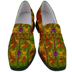 Sakura Blossoms Popart Women s Chunky Heel Loafers by pepitasart