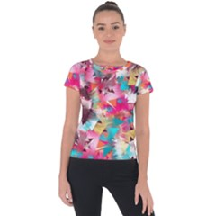 Color Pieces Short Sleeve Sports Top  by Sparkle