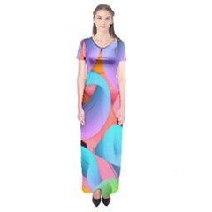3d Color Swings Short Sleeve Maxi Dress by Sparkle