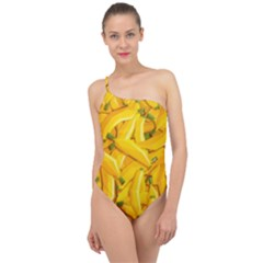 Geometric Bananas Classic One Shoulder Swimsuit