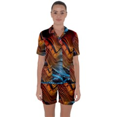 3d Rainbow Choas Satin Short Sleeve Pyjamas Set