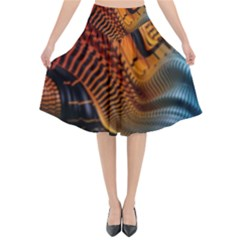 3d Rainbow Choas Flared Midi Skirt by Sparkle