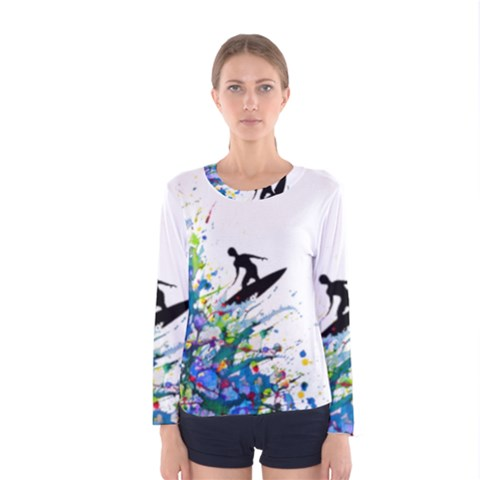 Nature Surfing Women s Long Sleeve Tee by Sparkle
