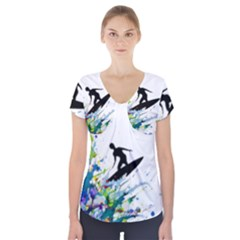 Nature Surfing Short Sleeve Front Detail Top by Sparkle
