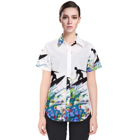 Nature Surfing Women s Short Sleeve Shirt by Sparkle