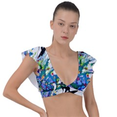 Nature Surfing Plunge Frill Sleeve Bikini Top by Sparkle
