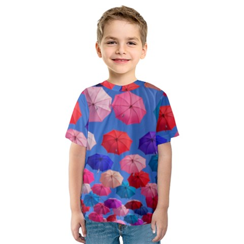 Rainbow Umbrella Kids  Sport Mesh Tee by Sparkle