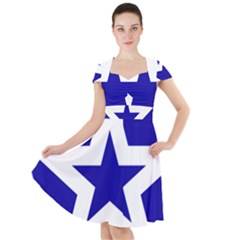 Logo Of League Of Nations Cap Sleeve Midi Dress