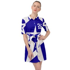 Logo Of League Of Nations Belted Shirt Dress