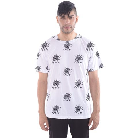 Stylized Black And White Floral Print Men s Sports Mesh Tee by dflcprintsclothing