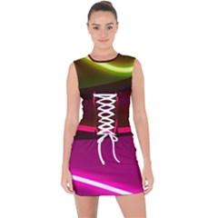 Neon Wonder Lace Up Front Bodycon Dress