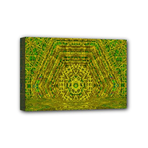 Gold Golden Sunset Mandala Mini Canvas 6  X 4  (stretched) by pepitasart