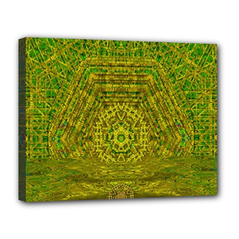 Gold Golden Sunset Mandala Canvas 14  X 11  (stretched) by pepitasart