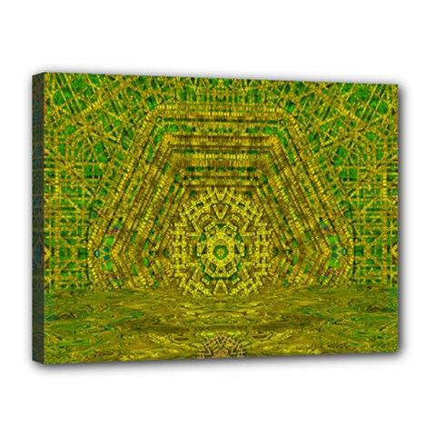 Gold Golden Sunset Mandala Canvas 16  X 12  (stretched) by pepitasart