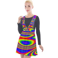 Rainbow Plunge Pinafore Velour Dress by Sparkle