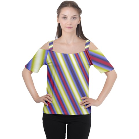 Colorful Strips Cutout Shoulder Tee by Sparkle