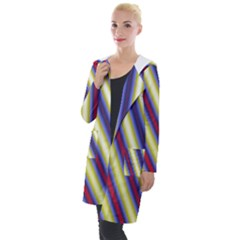 Colorful Strips Hooded Pocket Cardigan