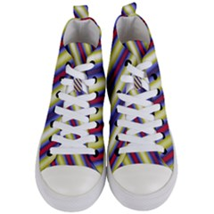 Colorful Strips Women s Mid-top Canvas Sneakers