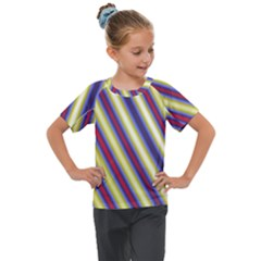 Colorful Strips Kids  Mesh Piece Tee