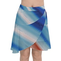 Blue White Chiffon Wrap Front Skirt