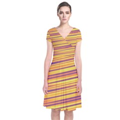 Rainbow Waves Short Sleeve Front Wrap Dress