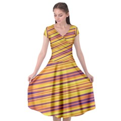 Strips Hole Cap Sleeve Wrap Front Dress
