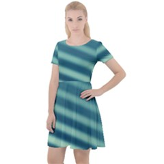 Blue Strips Cap Sleeve Velour Dress