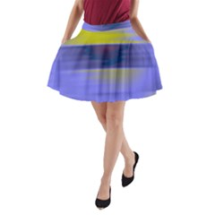 Blue Strips A-line Pocket Skirt
