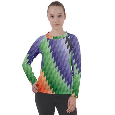 Zigzag Waves Women s Long Sleeve Raglan Tee by Sparkle
