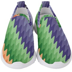 Grey Strips Kids  Slip On Sneakers by Sparkle