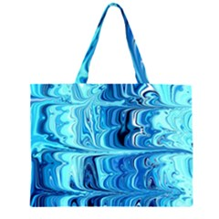 Blue Waves Zipper Large Tote Bag