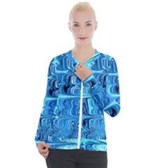 Blue Waves Casual Zip Up Jacket by Sparkle