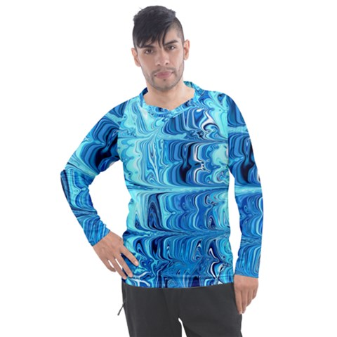 Blue Waves Men s Pique Long Sleeve Tee by Sparkle